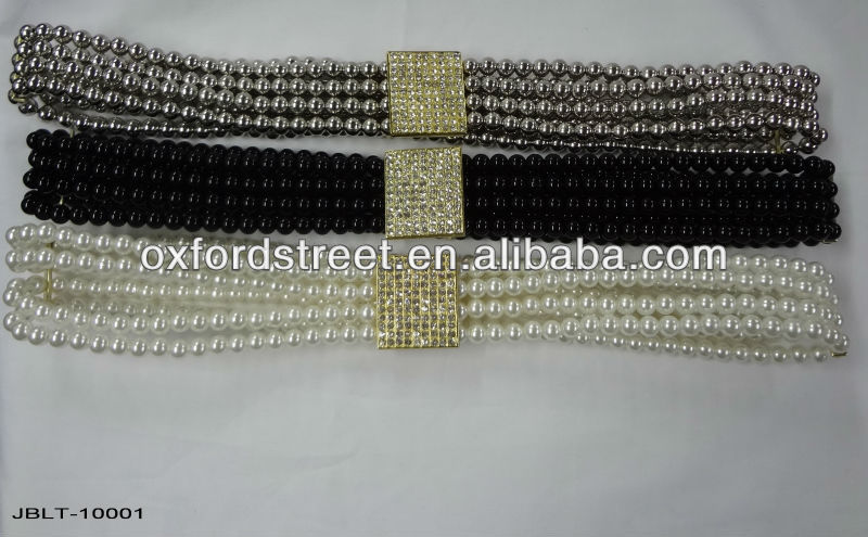 Bead belt with rhinestone and pearl