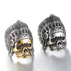 MECYLIFE Retro Indian Chief Index Finger Ring Punk Skull Head Hip-hop Stainless Steel Ring