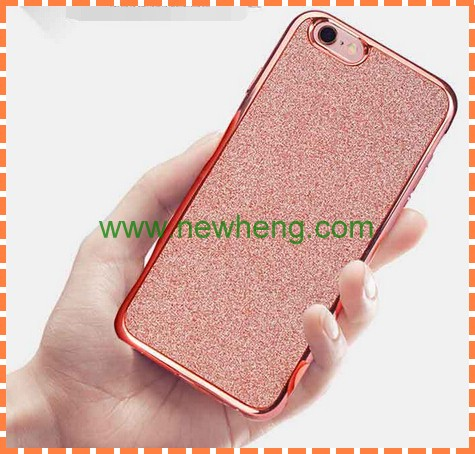Luxury Ultra Thin Electroplating + Glitter TPU case Soft Mobile Phone Case For iPhone 6