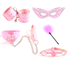Sex Products Diamond Texture Women and male Leather 5 pcs/set Bdsm Bondage Erotic Sex Toys ,Handcuffs Collar