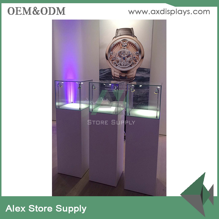 Wood&glass display tower case pocket watch display for watch shop fitting