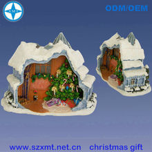 smart engraved resin home or house with snow christmas promotion gifts