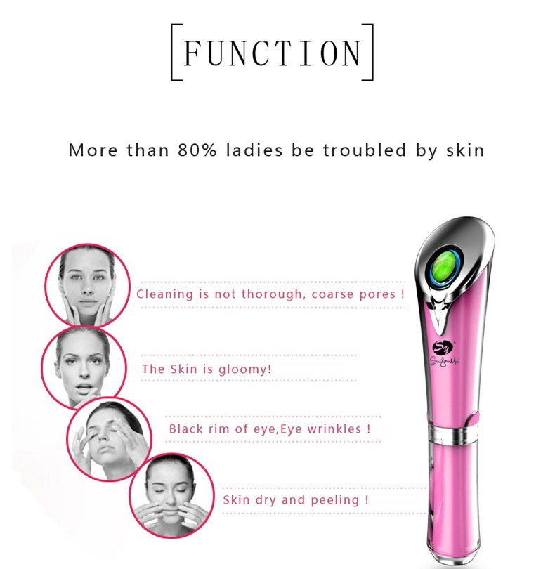 New design hand held wrinkle remover mini jade ion eye massage wand with heat