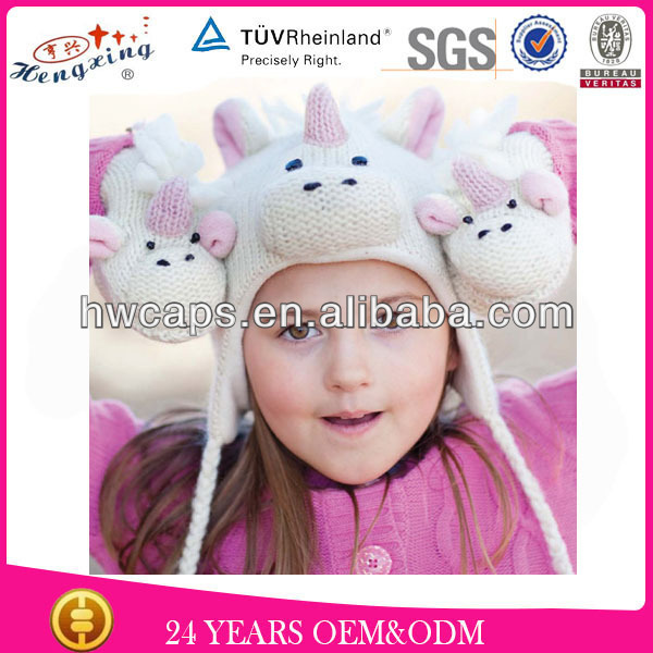 2014 Fashion Earflap Crochet Animal Winter Knitted Baby Christmas Hat
