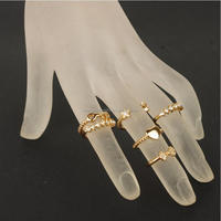 Wholesale fashion cute heart bow key star cocktail ring settings new design ladies finger ring