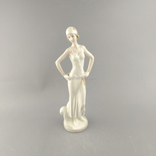 Modern fashionable porcelain ceramic lady figurines for home decor