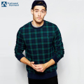 long sleeve all over plaid new design cotton pullover sweatshirt for men