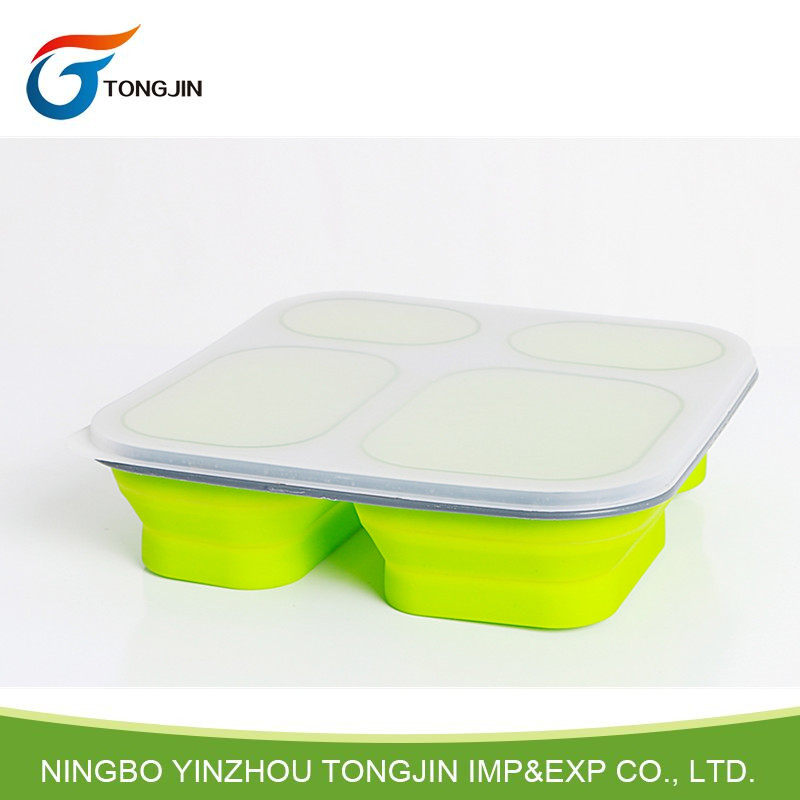 Food grade compartment silicone folding collapsible lunch box