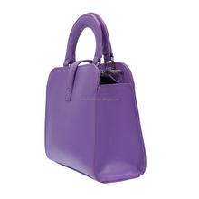 Stock Fabric Large PVC Purple Short Handle Messenger Ladies Bag with Zupper Purse
