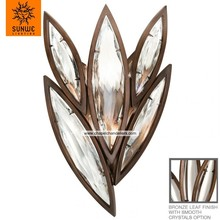 High-end featured 4 lights Metal Crystal smooth polished crystals leaf shape wall lamp