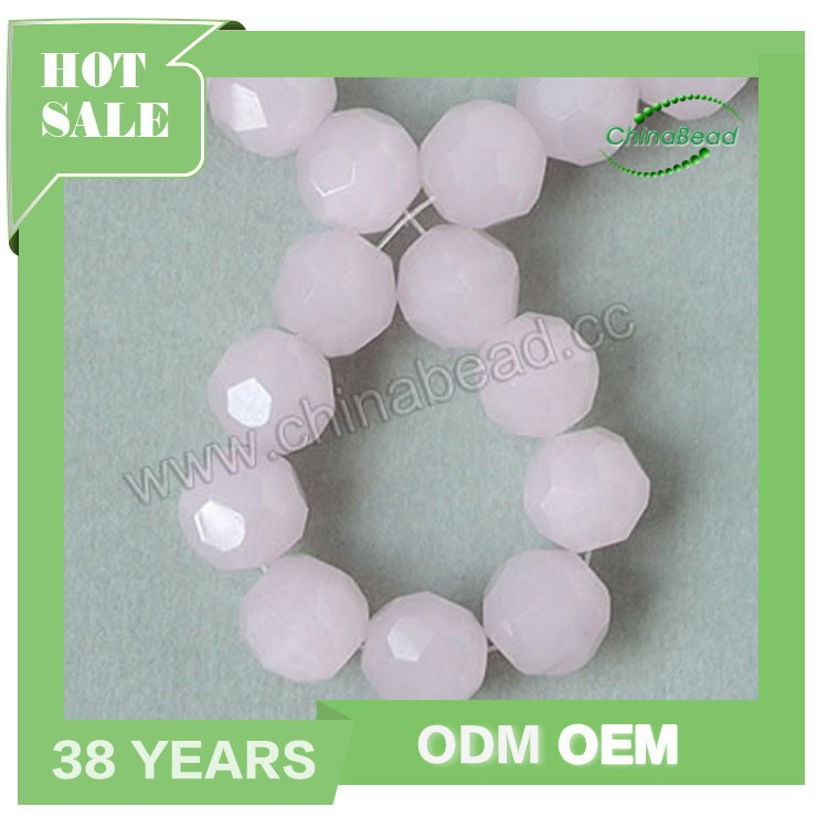 Chinese factory sell 10 mm crystal beads, Rose opal crystal glass beads