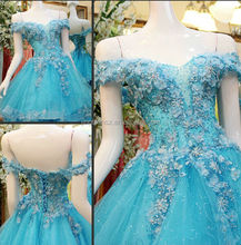 Real pictures blue colour elegant wedding dress #OW288