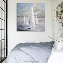 White Sail Canvas Art for Wall Decor Handmade Sea View Oil Painting
