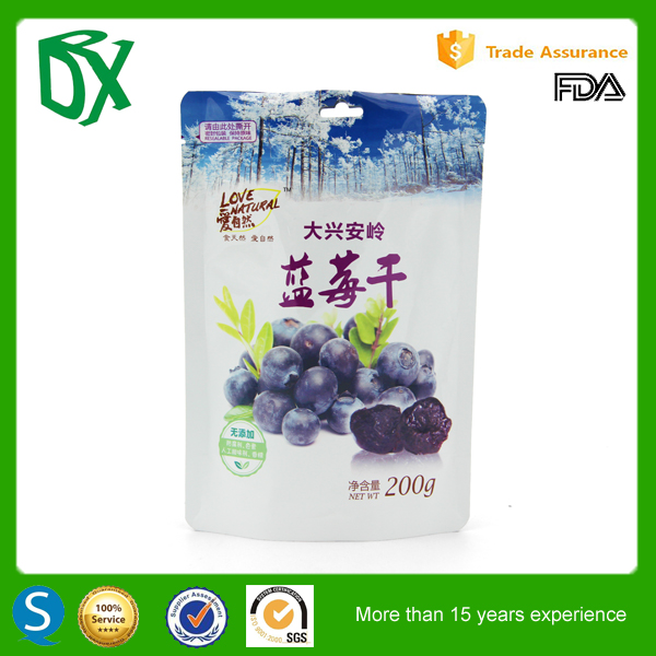 China best quality customized printed aluminium foi stand up for food bag with zipper