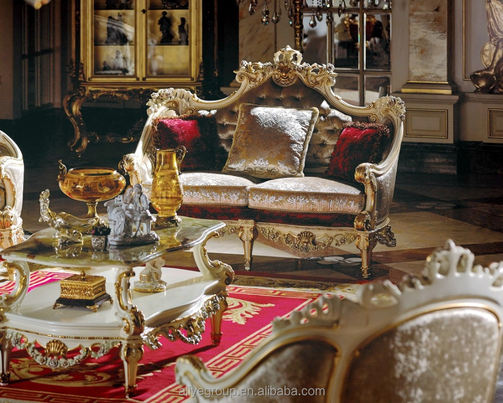AS13011-French Luxury Rococo Design Furniture/ Classic Hand Carved High Quality Living Room Fabric Sofa Set