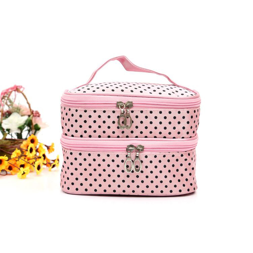 Customizable Logo Double-deck Travel Beauty Cosmetic Bag Makeup Case
