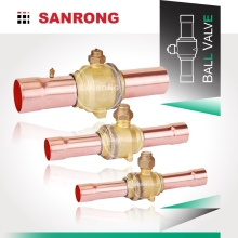 Sanrong UL RoHS Approved Refrigerant Ball Valve with Copper Tubes, High Pressure Ball Valve for R22 R134a R410A Air Conditioner