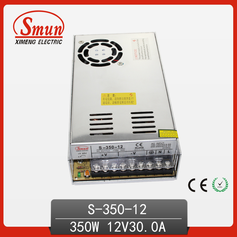 Adjustable 350W 12V DC Output 110V/220V AC Input Switching Power Supply S-350-12