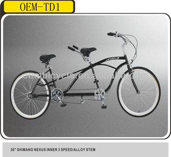 26 inch 3 speed tandem beach cruiser bikes for two people