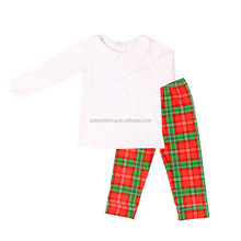 christmas baby girl clothes white long sleeve top red & green gingham pants outfit bulk wholesale kids clothing