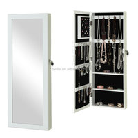 Jewelry Box Chest Organizer Armoire Cabinet Storage Mirror Door Wall Mount White