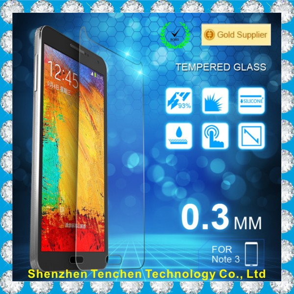 Big Promotion hight quality mobile screen protector glass for samsung Note3
