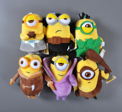 6pcs/lot Minion Plush Stuffed Toys Doll Despicable Me Vampire Primitive Pirate 20cm 3D Eye Minions Christmas Gift 2016 New toy