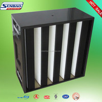 Disposable Fiberglass Medium Efficiency V Bank Filters , Box Air Filter With Plastic Frame