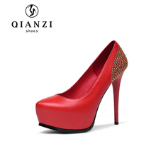 D013 top selling black and red leather shoes high heels platform for women