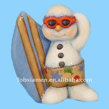 white ceramic bisque ready to paint snowman surfer ornament