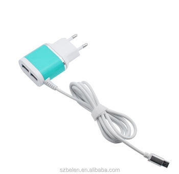 Shenzhen Wholesale Product 5V 2A Eu Standard Dual Usb Wall Charger Micro Usb Cable