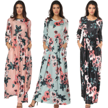 TOP SELLING Round Neck Flower Pattern Elastic Waist Long Maxi Dress