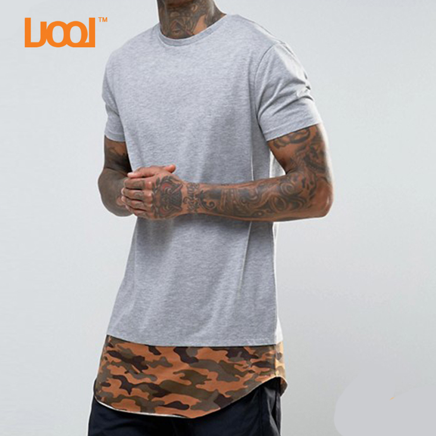 Hip Hop Loose Short Sleeve Mens T Shirts With Hood Grey Color Blank Plain No Brand T-shirt