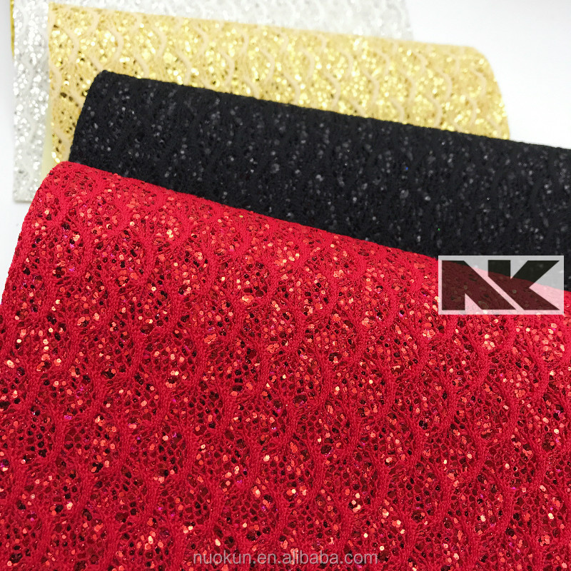 NK P013 PU beautiful shiny glitter leather mesh fabric for shoes high fashion and cheap
