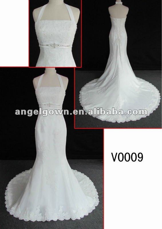 charming halter deaded lace embellish with crystal wedding gown in hot sell with discount