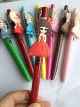 cheap promotional good writing high quality sweet girls design plastic ball pen