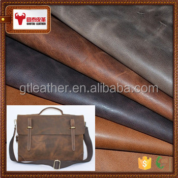 Good quality cowhide leather genuine split crazy horse leather for retro handbag