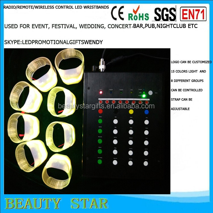 2016 newest Flashing silicone bracelets,radio/remote/wireless control Flashing silicone bracelets for party,concert,event
