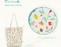 Rope Handle Beautiful Floral Cotton Canvas Lady Handbag Supplier