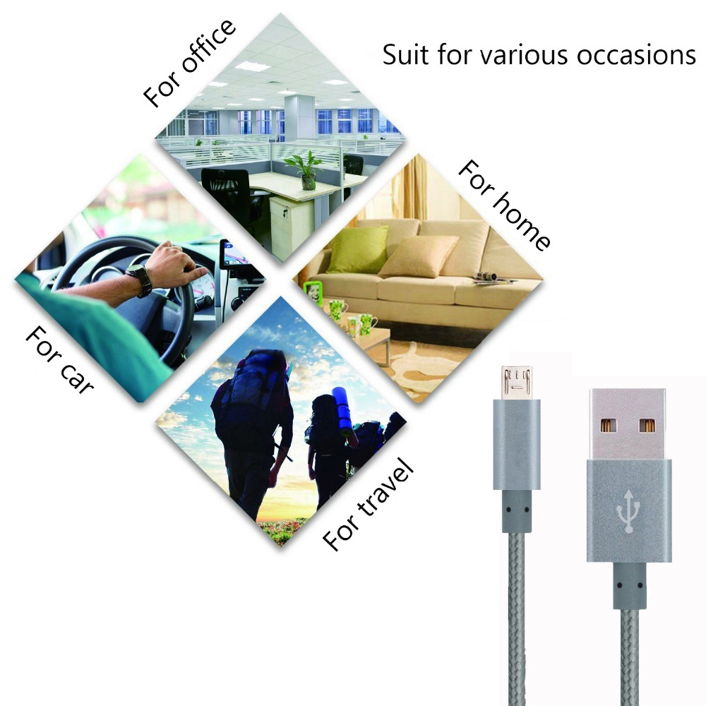Nylon Braided Micro USB Cable Aluminium Housing USB 2.0 A Male to Micro B Sync and Charging Cables