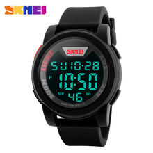 SKMEI 1218 Sports LED Digital Wristwatches Chronograph Men 12 / 24 Hours Silicone Strap Clock Waterproof Watches