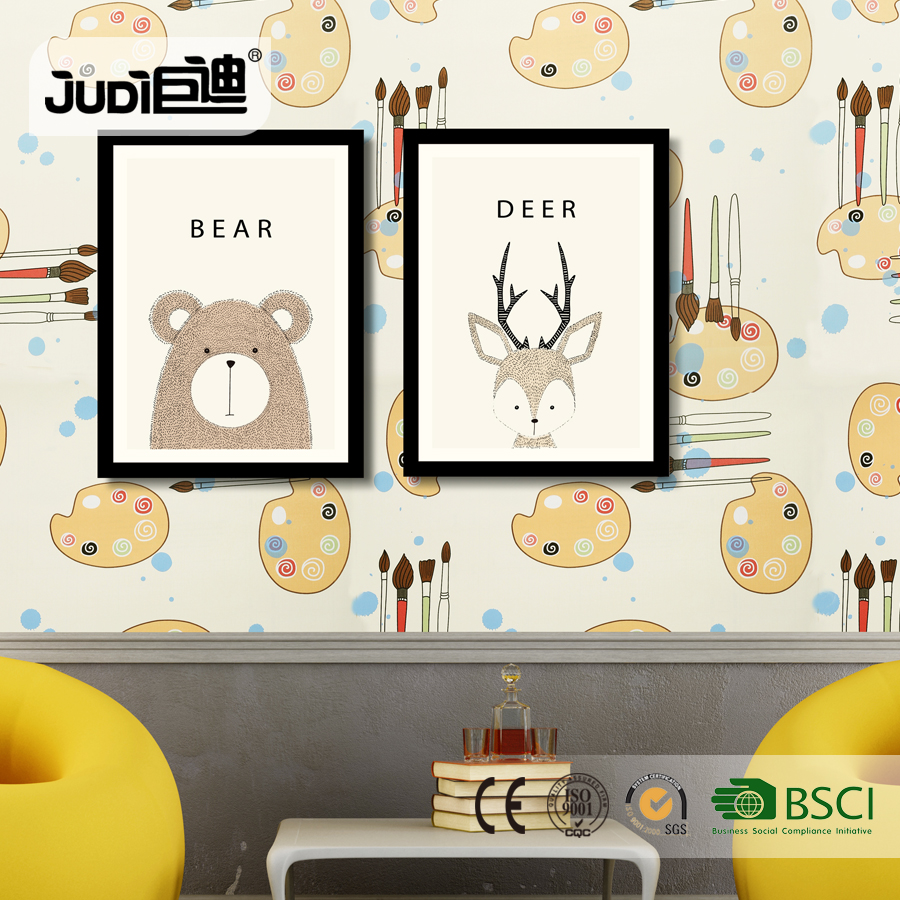 China factory good design popular children cartoon wallpaper for kids