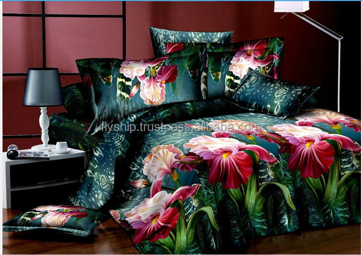 100% Cotton bedding Twill 3D Reactive Print Bed Linen Set