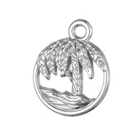 New Arrival Zinc Alloy Silver Gold Round Cutout Coconut Palm Tree And Wave Charms