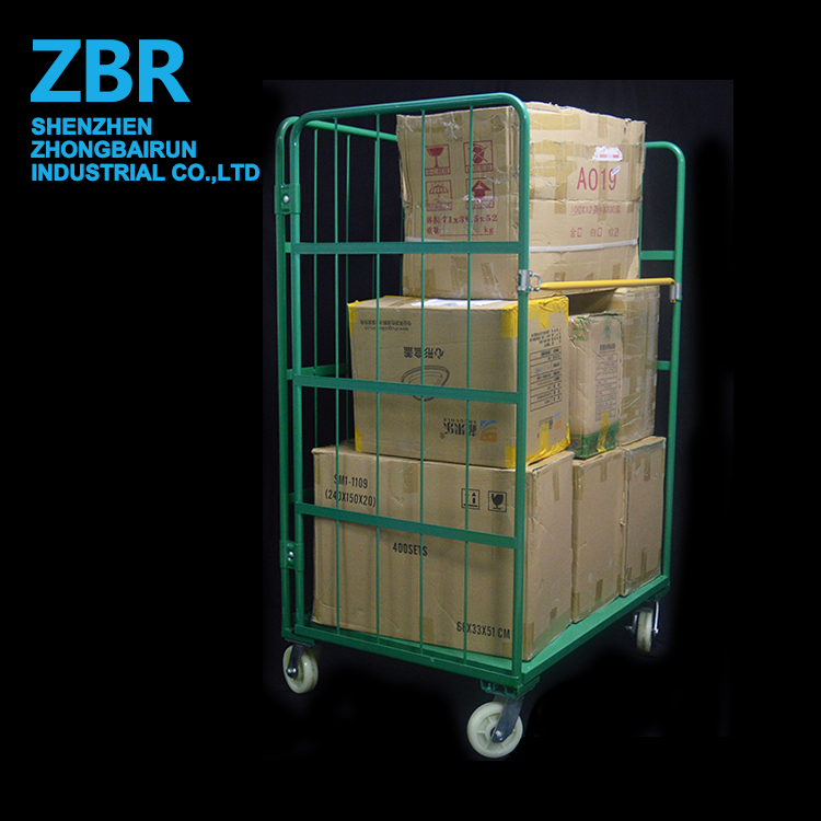 Foldable Galvanized roll Cage Trolley Logistics Storage Trolley for Transport