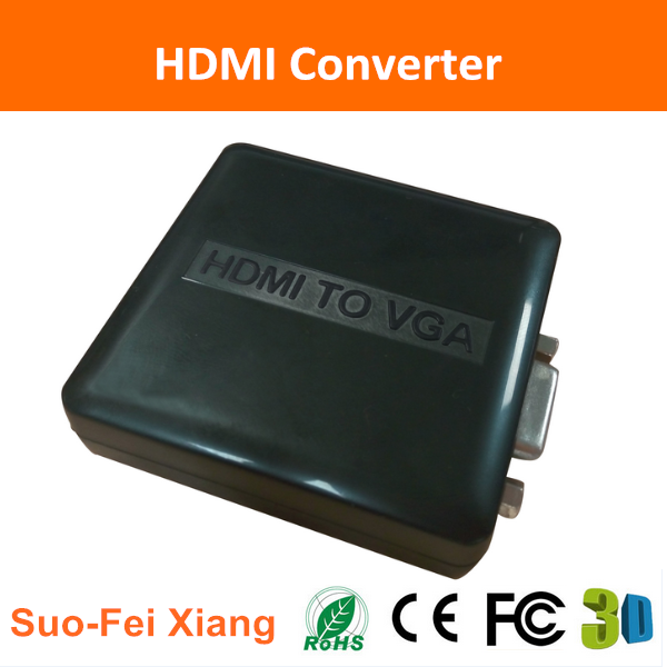 Mini HDMI to VGA+ R/L 3D Converter plastic box with import chipset