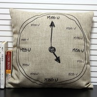 Brief Style Lovely Clock Design Pillow Home Decorative Cushion Cover