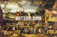 Village-Fair-by-David-Vinckboons Abstract Oil Painting