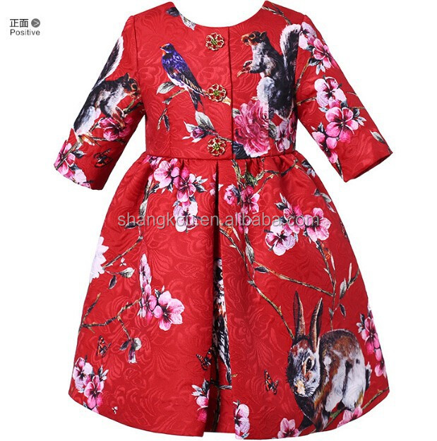 Long Sleeves Autumn&Winter Girl Dress Embroidery Latest Children Dress Designs Baby Girls Party Dresses