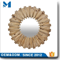 fancy unique decorative wall wooden mirror frame , wholesale large wall mirror decoration